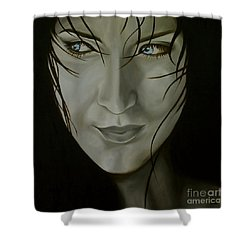 Blue-eyed Girl Shower Curtain by Jindra Noewi