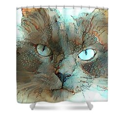 Blue Eyed Persian Cat Watercolor Shower Curtain