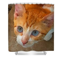Shower Curtain featuring the digital art Blue Eyed Punk  by Shelli Fitzpatrick