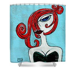 Blue Eyed Redhead In Green Dress Shower Curtain
