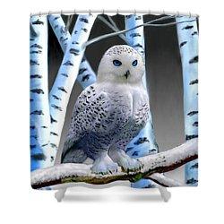 Blue-eyed Snow Owl Shower Curtain by Glenn Holbrook