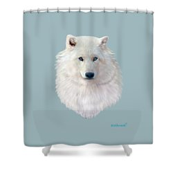 Blue-eyed Snow Wolf Shower Curtain