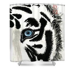 Blue-eyed Tiger Shower Curtain