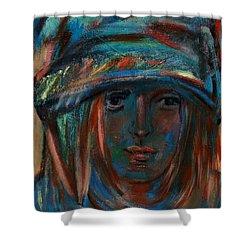 Blue Faced Girl Shower Curtain