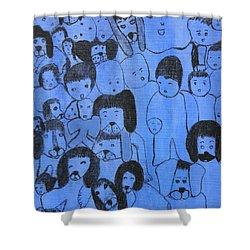 Blue Faces Shower Curtain by Maria Iliou