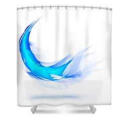 Blue Feather Shower Curtain by Setsiri Silapasuwanchai