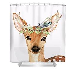 Blue Feather Woodland Boho Deer Shower Curtain