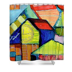 Shower Curtain featuring the painting Blue Fin's Fresh Seafood by Susan Stone