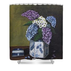 Blue Fish Vase Shower Curtain by Kim Selig