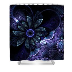 Blue Fleur And Lace Shower Curtain