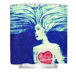 Blue Floating Heart Shower Curtain