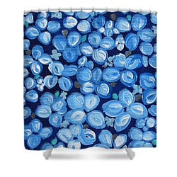 Blue Floral Frenzy Shower Curtain