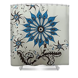 Blue Flower 3 Shower Curtain