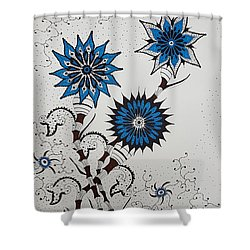 Blue Flower 4 Shower Curtain