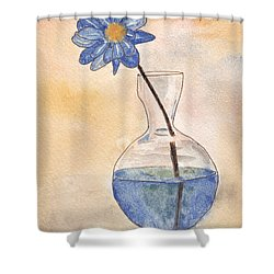 Blue Flower And Glass Vase Sketch Shower Curtain