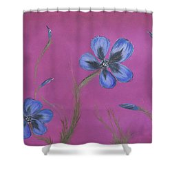Blue Flower Magenta Background Shower Curtain