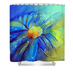Blue Flower Offering Shower Curtain