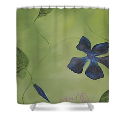 Blue Flower On A Vine Shower Curtain