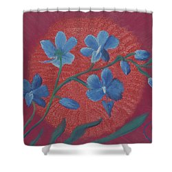 Blue Flower On Magenta Shower Curtain