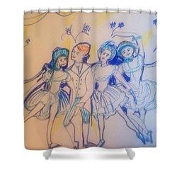 Blue Flower Polka Shower Curtain by Judith Desrosiers