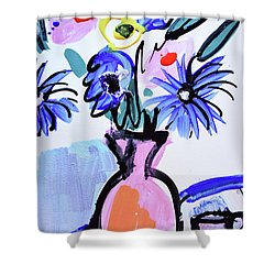 Blue Flowers And Coffee Cup Shower Curtain by Amara Dacer