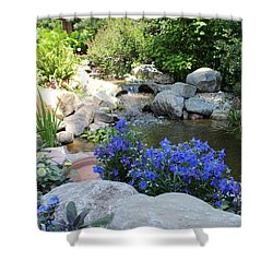 Blue Flowers And Stream Shower Curtain by Corey Ford