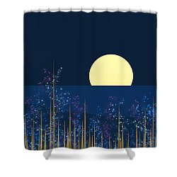 Blue Flowers Bloom At Night Shower Curtain