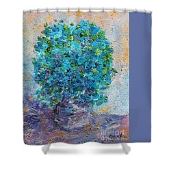 Blue Flowers In A Vase Shower Curtain by AmaS Art