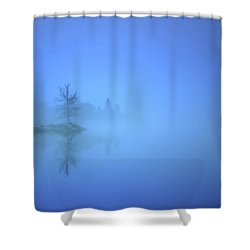Shower Curtain featuring the photograph Blue Fog At Skaha Lake by Tara Turner