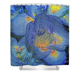Shower Curtain featuring the photograph Blue Freesia's by Lance Sheridan-Peel