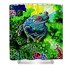 Blue  Frog Shower Curtain by Hartmut Jager