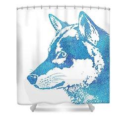 Blue Galaxy Wolf Shower Curtain