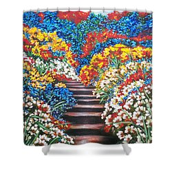 Blue Garden Cascade Shower Curtain