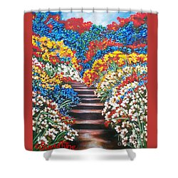 Flying Lamb Productions        Blue Garden Cascade Shower Curtain