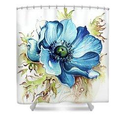 Shower Curtain featuring the painting Blue Gem by Anna Ewa Miarczynska