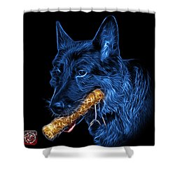 Shower Curtain featuring the digital art Blue German Shepherd And Toy - 0745 F by James Ahn