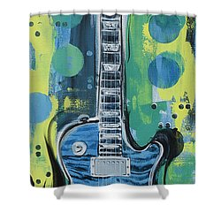Blue Gibson Guitar Shower Curtain