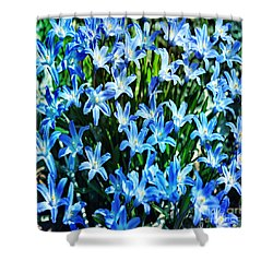 Blue Glory Snow Flowers  Shower Curtain