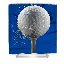 Blue Golf Ball Splash Shower Curtain by Steve Gadomski