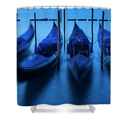 Shower Curtain featuring the photograph Blue Gondolas by Brian Jannsen