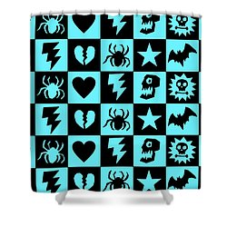 Blue Goth Punk Checkers Shower Curtain by Roseanne Jones