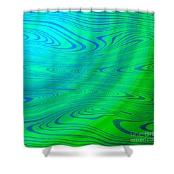 Blue Green Distort Abstract Shower Curtain