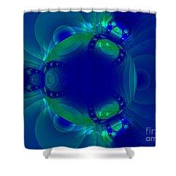 Blue Green Globe Luminant Fractal Shower Curtain