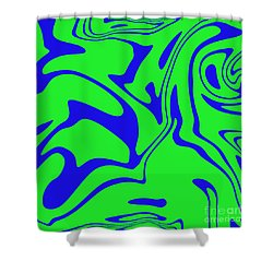 Blue Green Retro Abstract Shower Curtain