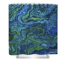 Blue Green Texture Shower Curtain