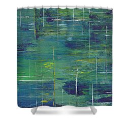 Blue Green Yellow Abstract  Shower Curtain by Patricia Cleasby