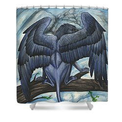 Shower Curtain featuring the painting Blue Griffin by Jennifer Hotai