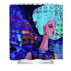 Shower Curtain featuring the painting Blue Haired Girl On Windy Day by Claire Bull