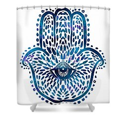 Blue Hamsa Hand Shower Curtain