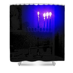 Blue Hanukkah On The Third Day Shower Curtain